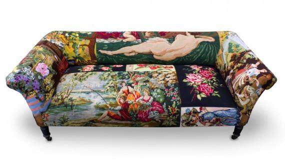 диван обтянутый гобеленом