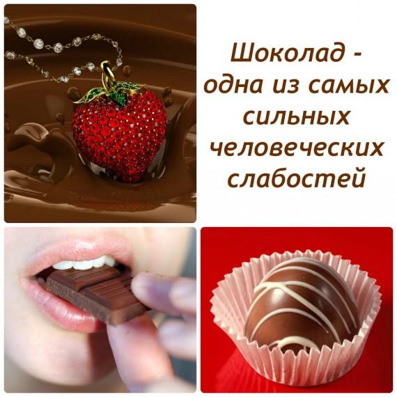 коллаж с различным типом шоколадных изделий