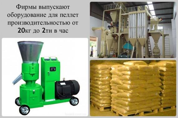 оборудование разной мощности для производства пеллет