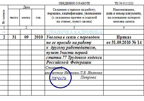 Пример записи