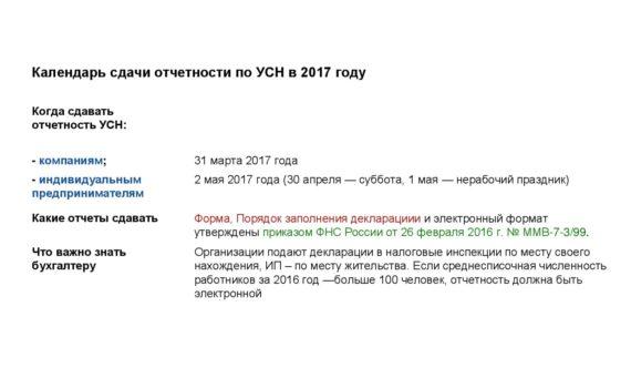 Календарь сдачи отчетности в 2017 году