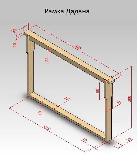 Размеры для изготовления рамки Дадана