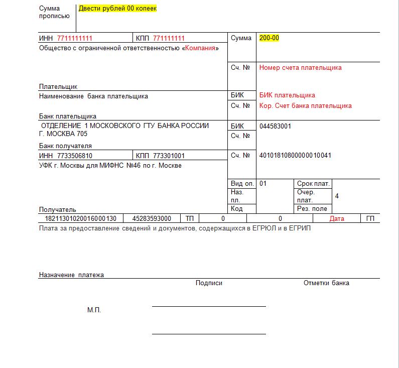квитанция на госпошлину за выписку из егрип