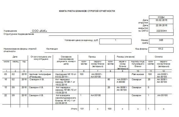 Книга учета БСО - образец заполнения для ИП