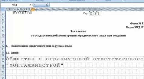 Заявление Р11001 — вариант 2