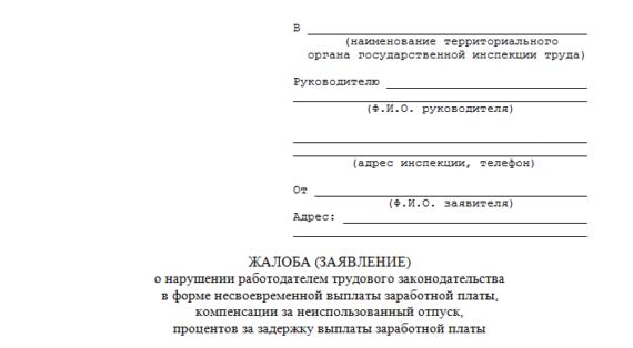 Жалоба в Трудовую инспекцию, «шапка» документа