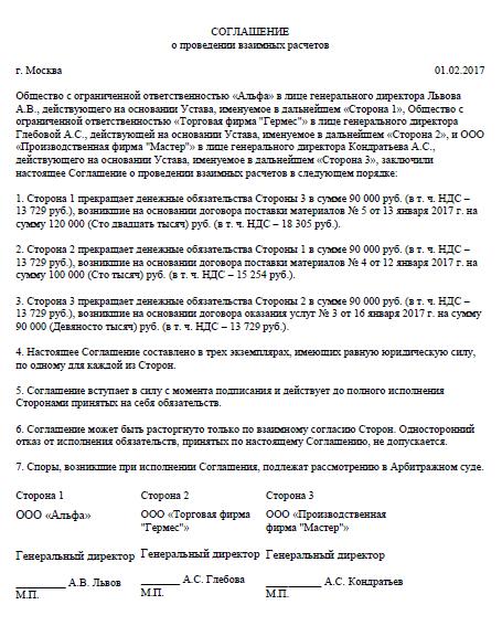Пример трёхстороннего соглашения 2017